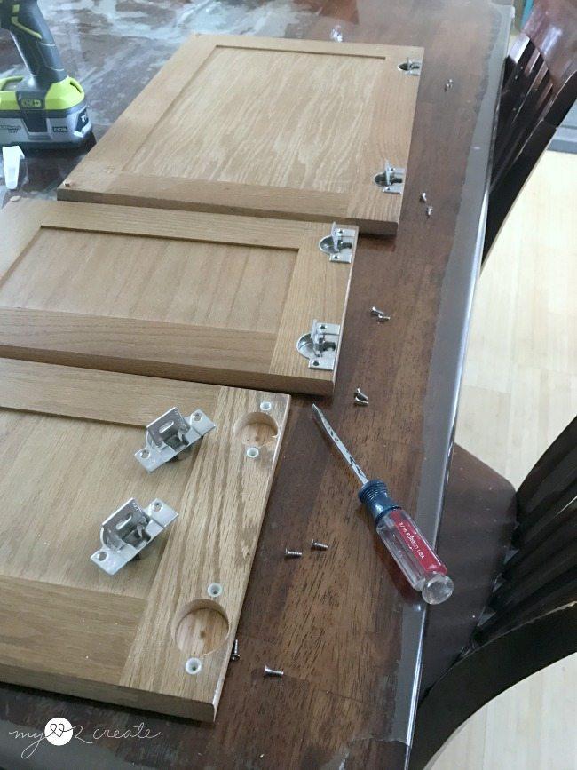 remove cabinet door hardware
