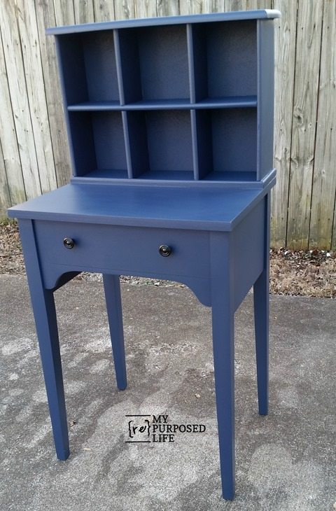 blue sewing cabinet cubby organizer writing desk hutch MyRepurposedLife.com