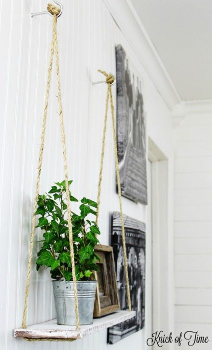 DIY pallet wood rope shelf by Knick of Time