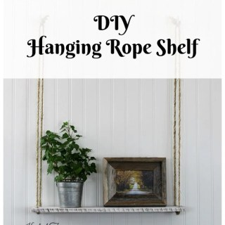 how to make a DIY hanging rope shelf tutorial by Knick of Time
