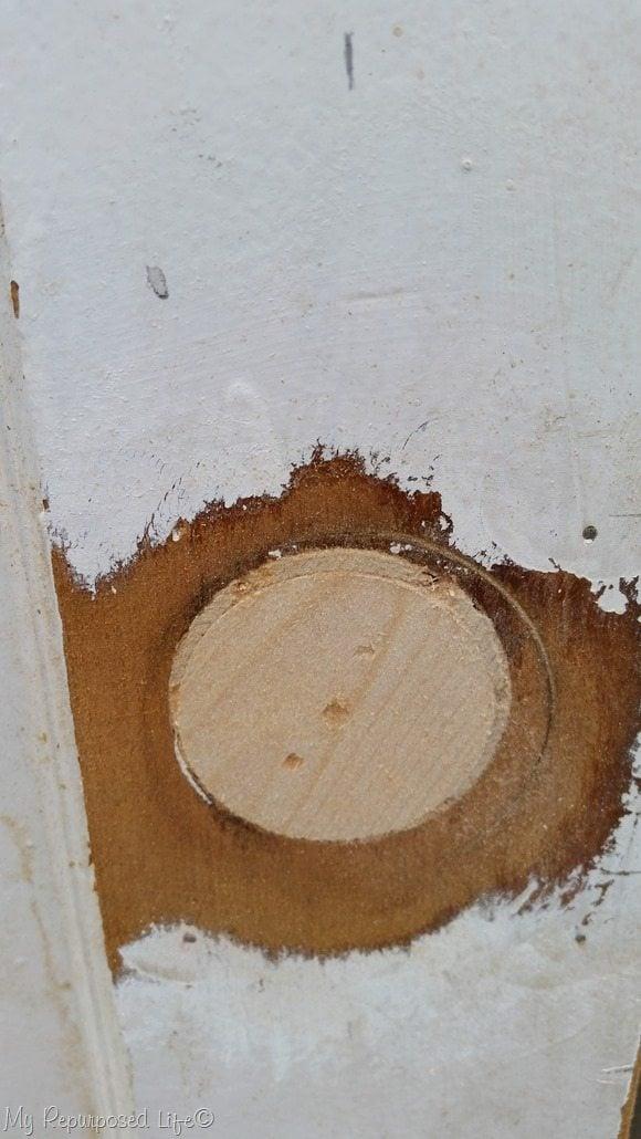 patch and sand door knob plug