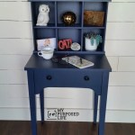 Navy Blue Writing Desk Hutch