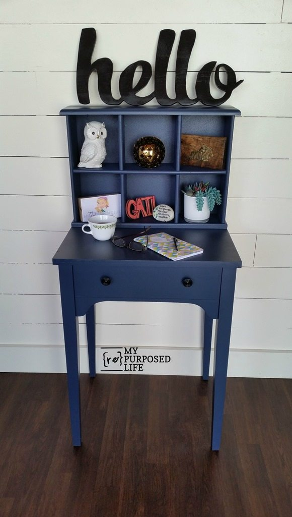 small navy writing desk hutch with cubbies MyRepurposedLife.com