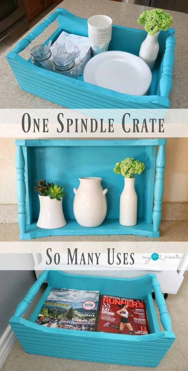 How to make a spindle crate using reclaimed bits & pieces plus scrap lumber MyLove2Create for MyRepurposedLife.com
