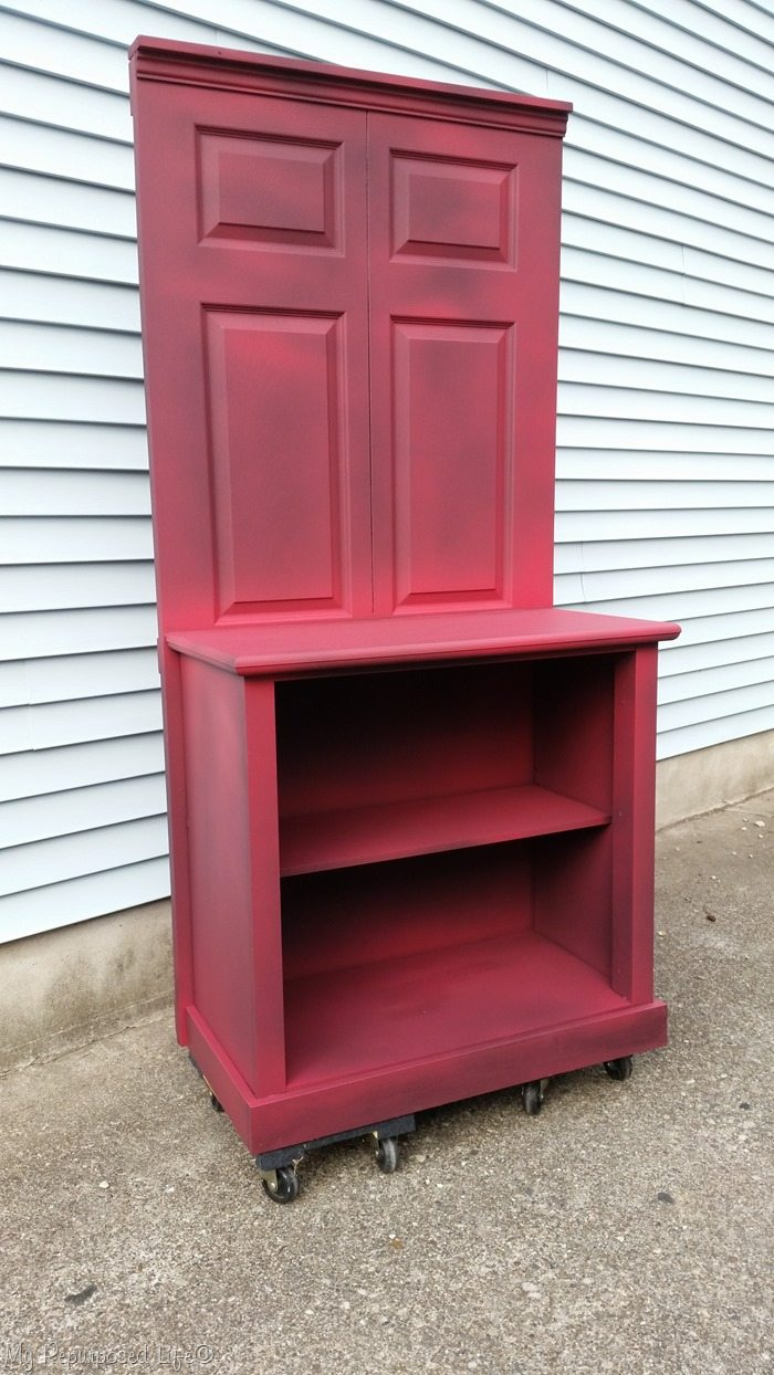 bi-fold door dresser coffee station dry brushed red