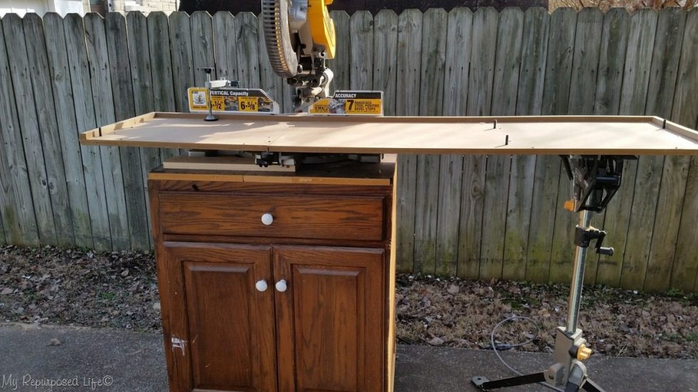 cut dresser top on miter saw
