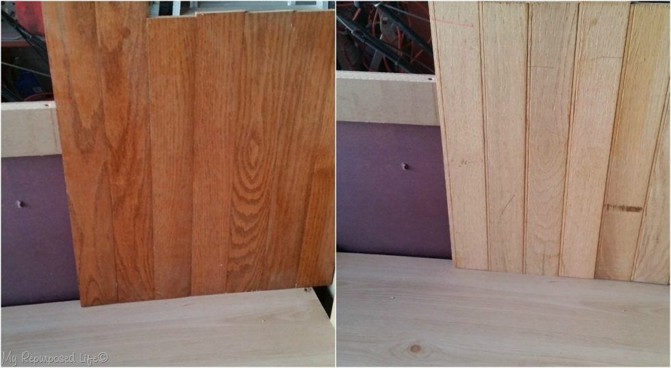 hardwood floor scraps as bead board