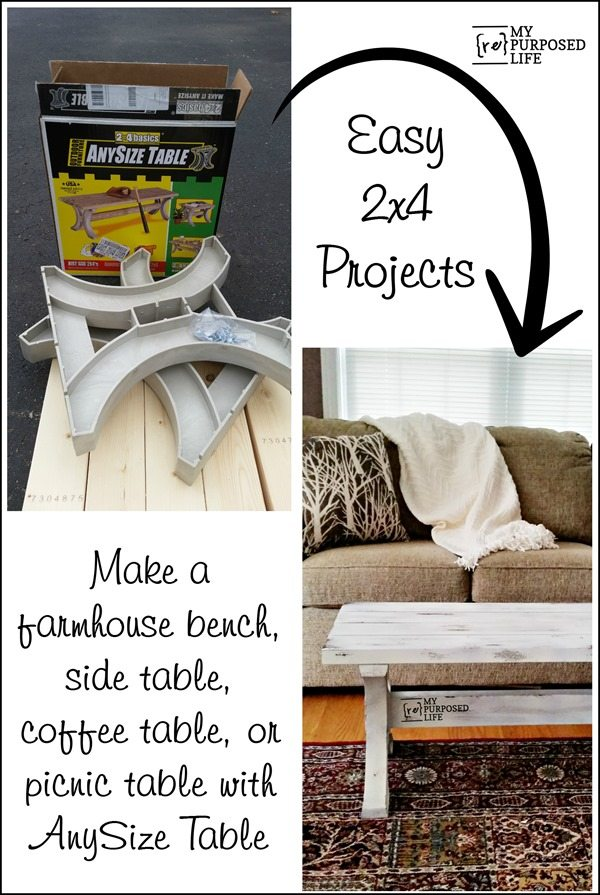 make a farmhouse bench-side table-coffee table-or picnic table with anysize table MyRepurposedLife.com