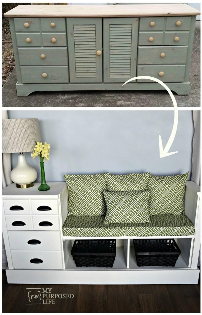 bench made from a dresser