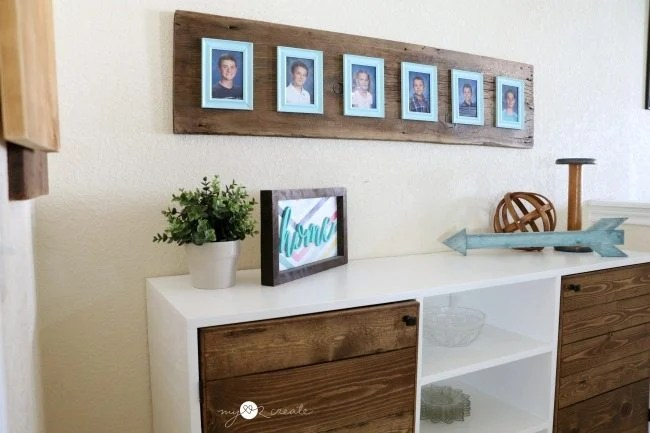 wood and photo frame display