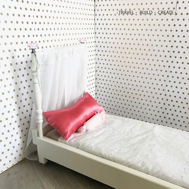 Chair spindles repurposed to doll bed posts