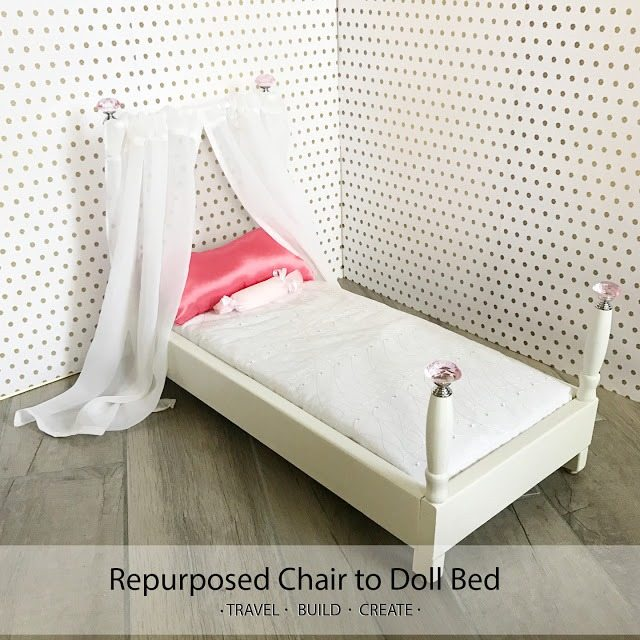 Doll bed from a chair repurposed