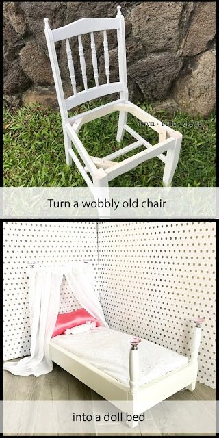Turn a wobbly old chair into a doll bed