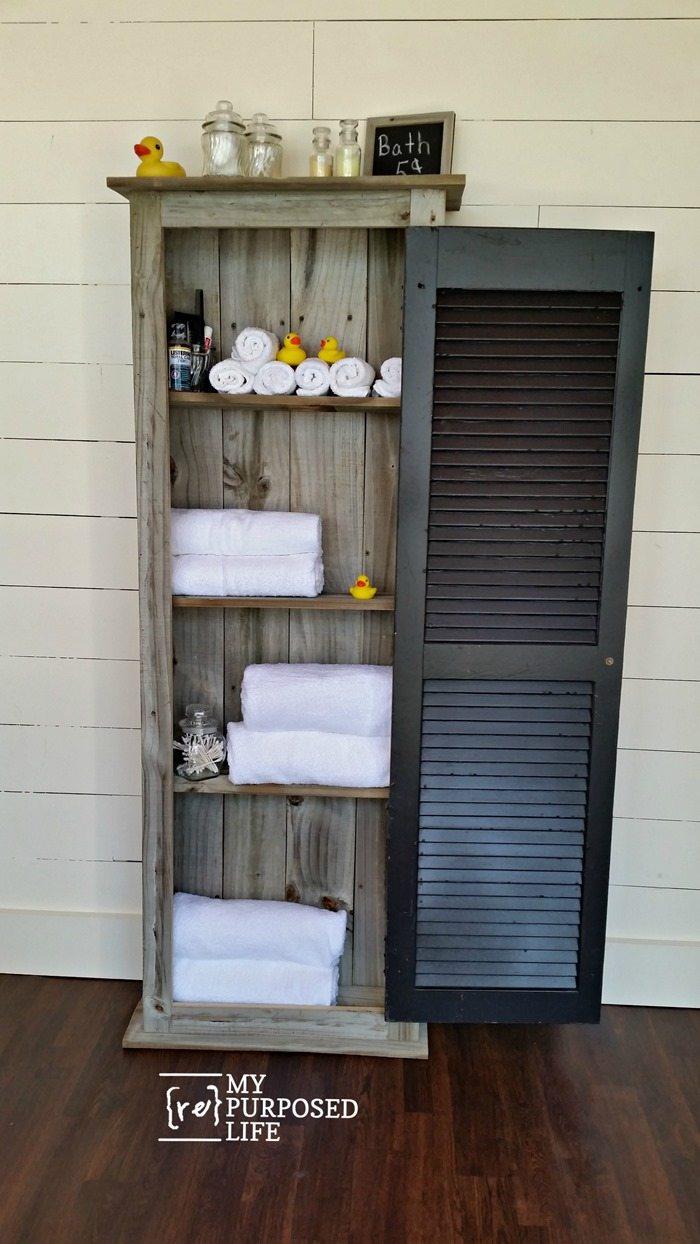 bathroom storage rustic shutter cabinet MyRepurposedLife.com