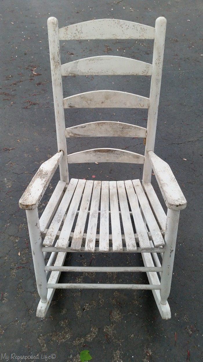 broken down rocking chair