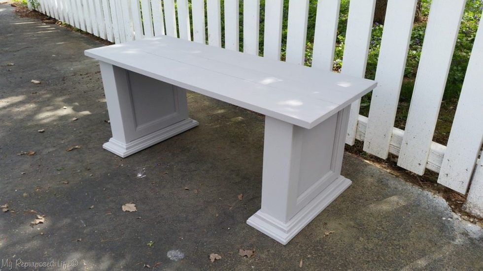 gray bench before waxing