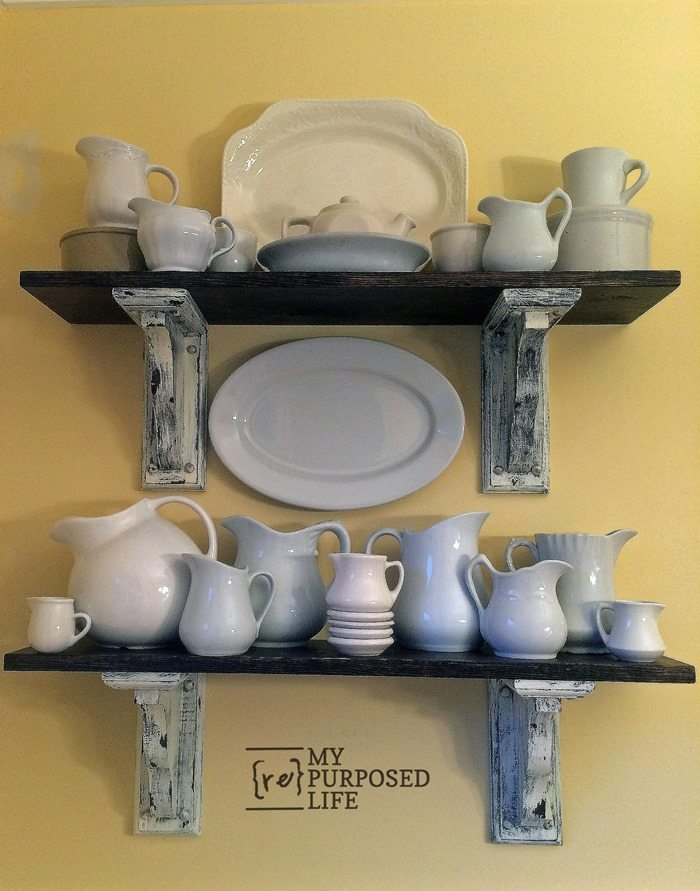iron stone on rustic farmhouse shelves from MyRepurposedLife.com
