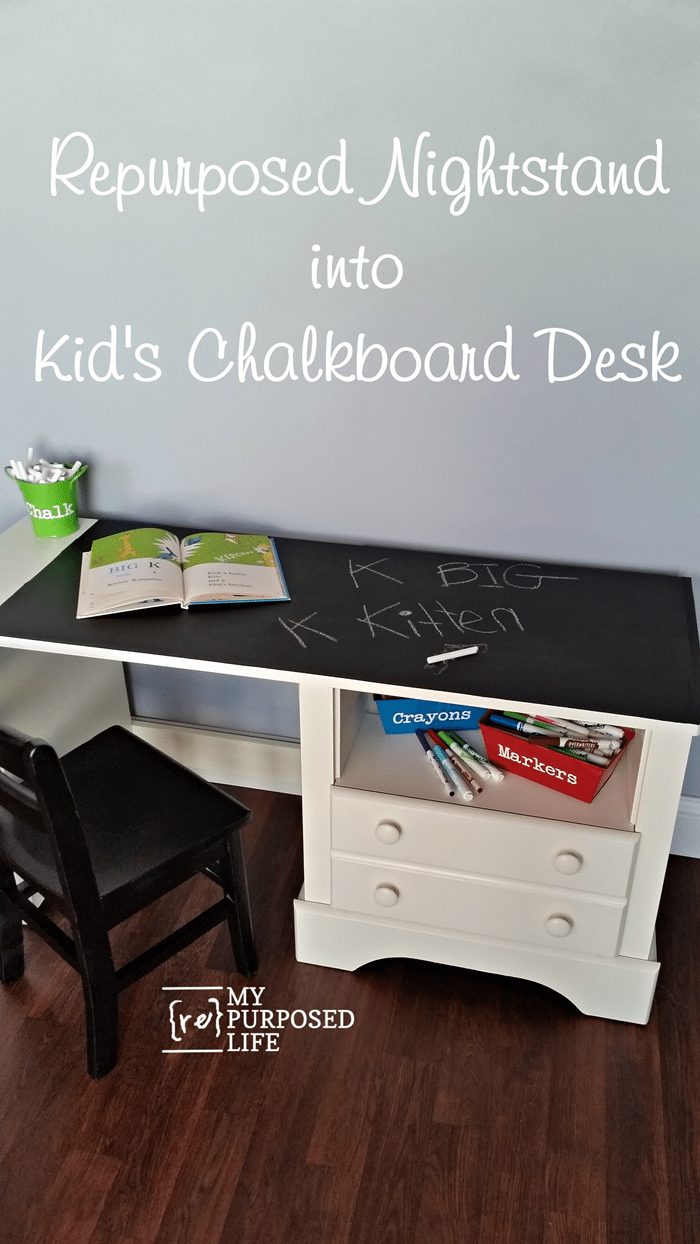 Kid's chalkboard desk made out of a nightstand
