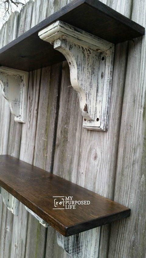 rustic farmhouse shelves MyRepurposedLife.com
