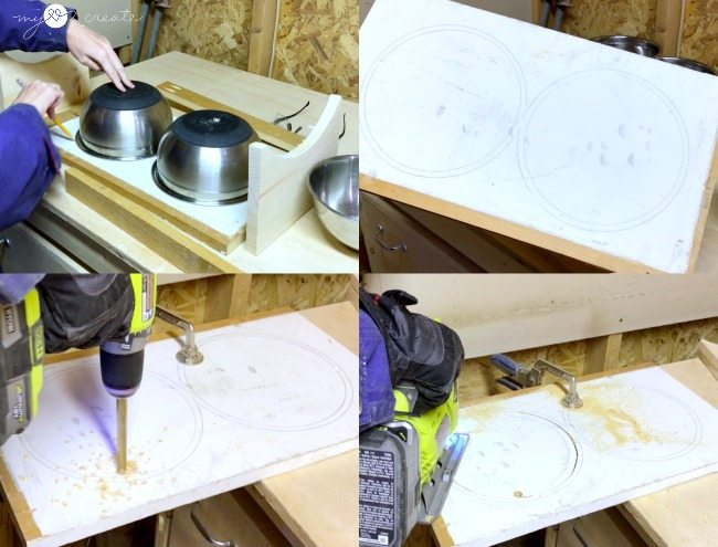 cutting out dog bowl circles