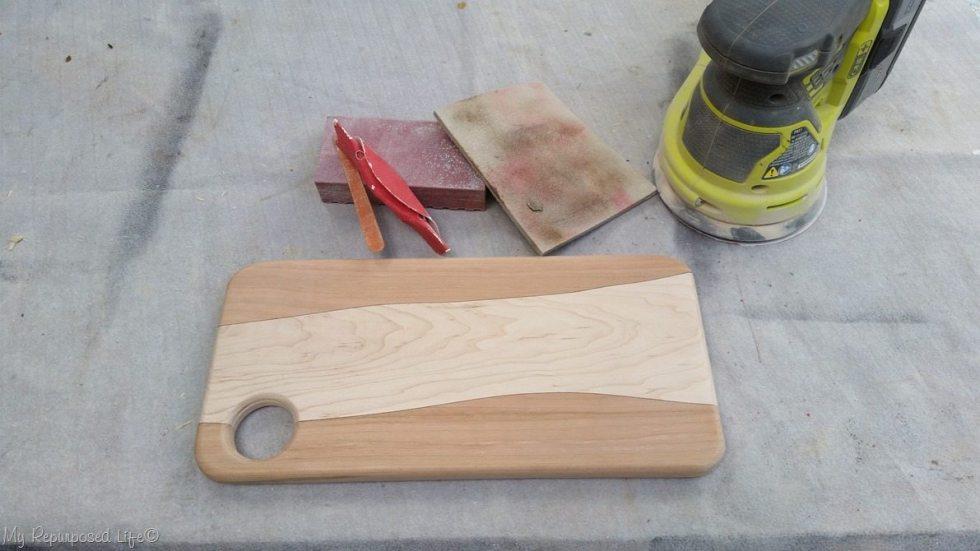 diy cutting board after sanding