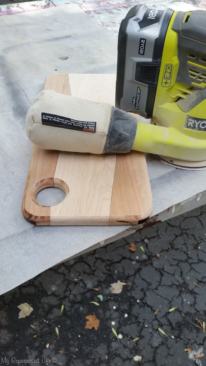 diy cutting board before sanding