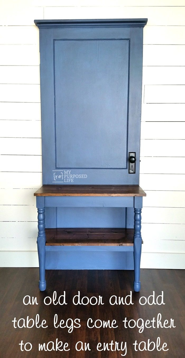 diy entry table from an old door and odd legs MyRepurposedLife.com