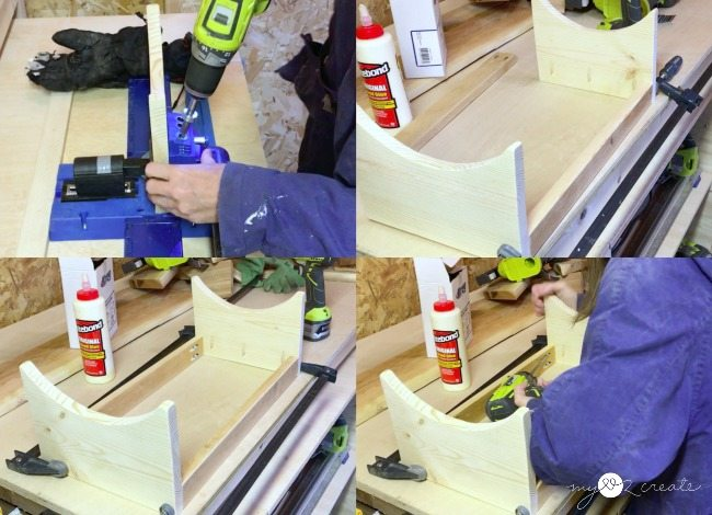 drilling pocket holes and attaching sides with aprons