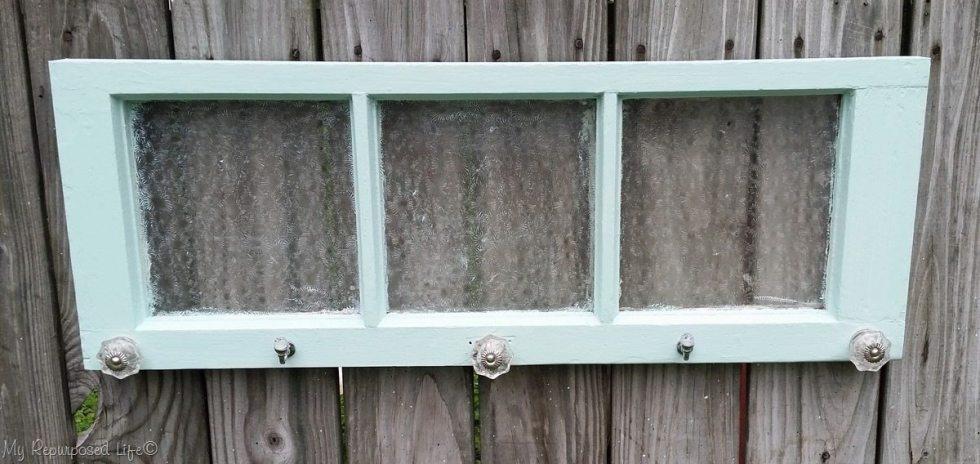 green vintage frosted window coat rack hook