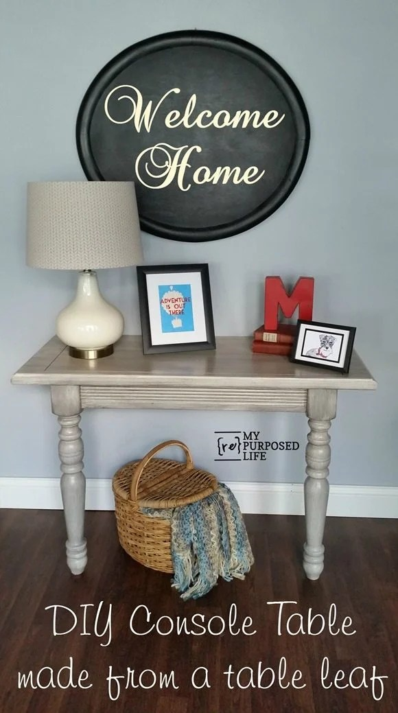 DIY console table made from odd legs and table leaf MyRepurposedLife.com