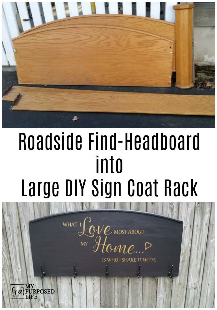 How to make a What I Love Most About My Home sign from a repurposed headboard that was damaged. Easy step by step directions to make your own sign. #MyRepurposedLife #repurposed #headboard #sign #whatILove #vinyl #transfer via @repurposedlife