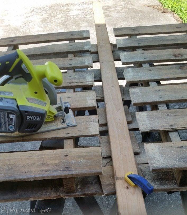 one side of pallet cut in half