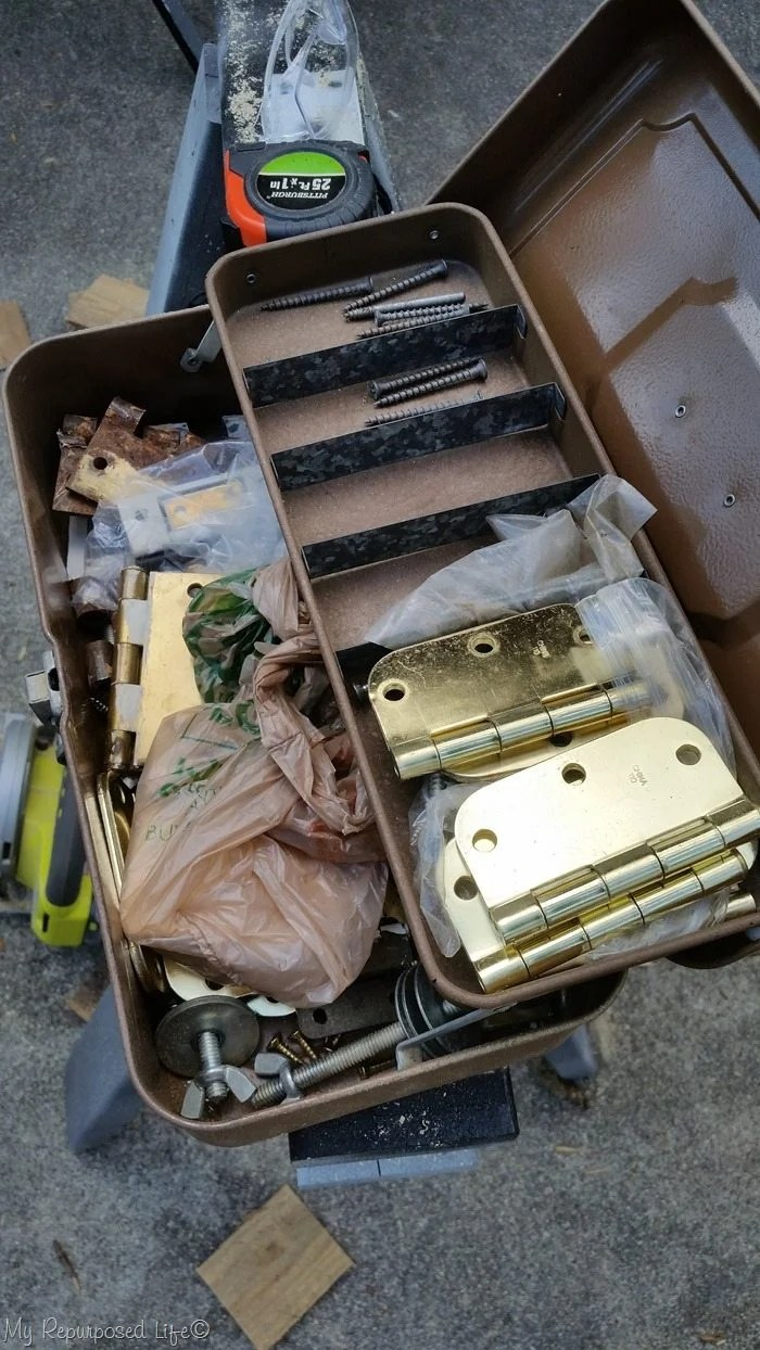 tackle box full of hinges