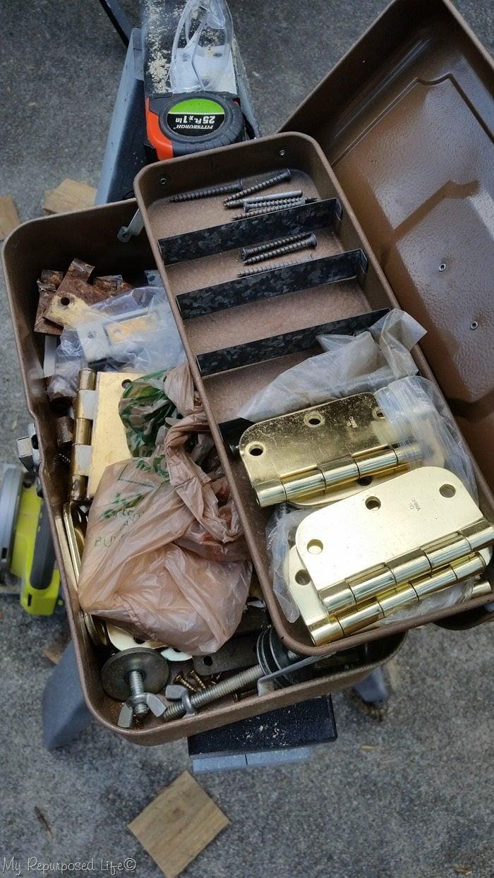 tackle box full of hinges