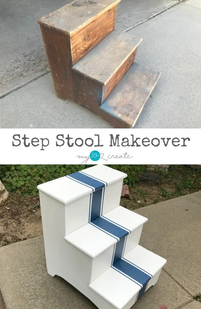 Grain sack stripe stepstool makeover
