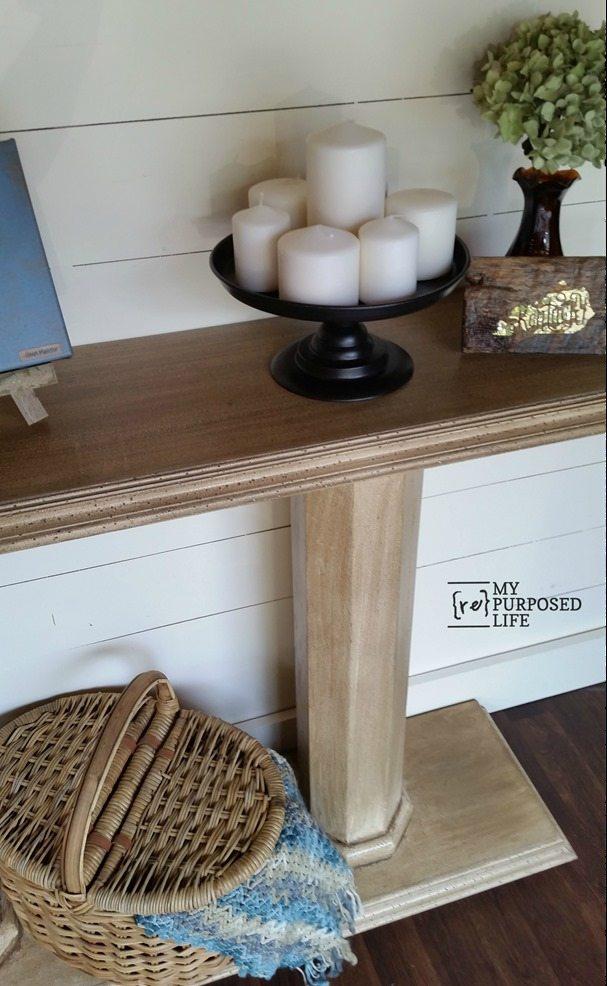 antique glazed double column console sofa table MyRepurposedLife.com