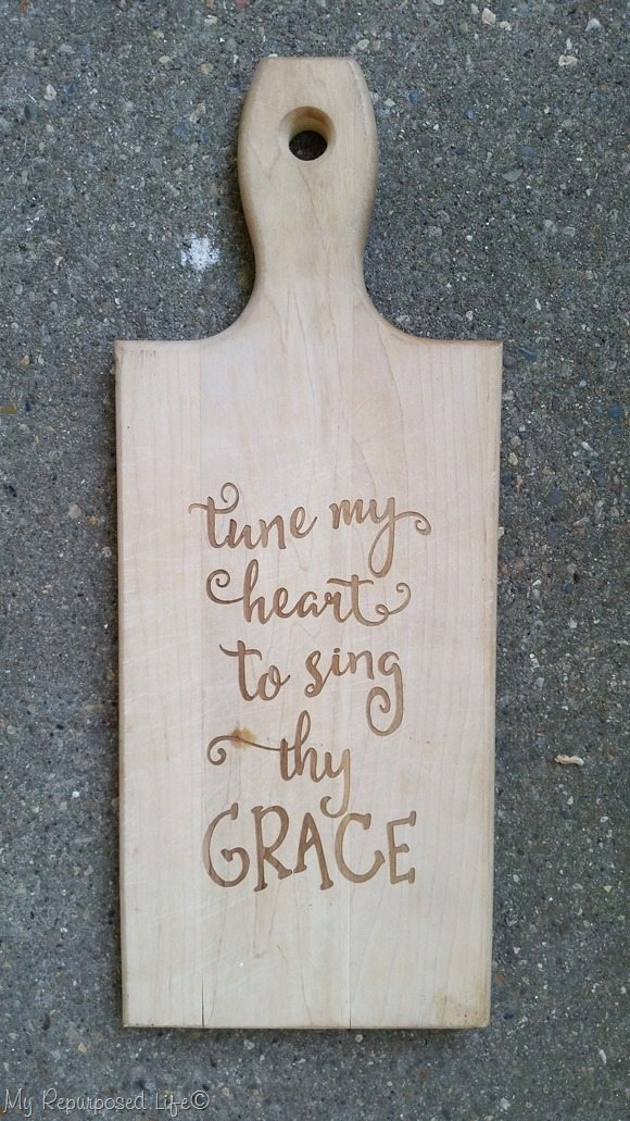 cutting board laster etched tune my heart to sing thy grace