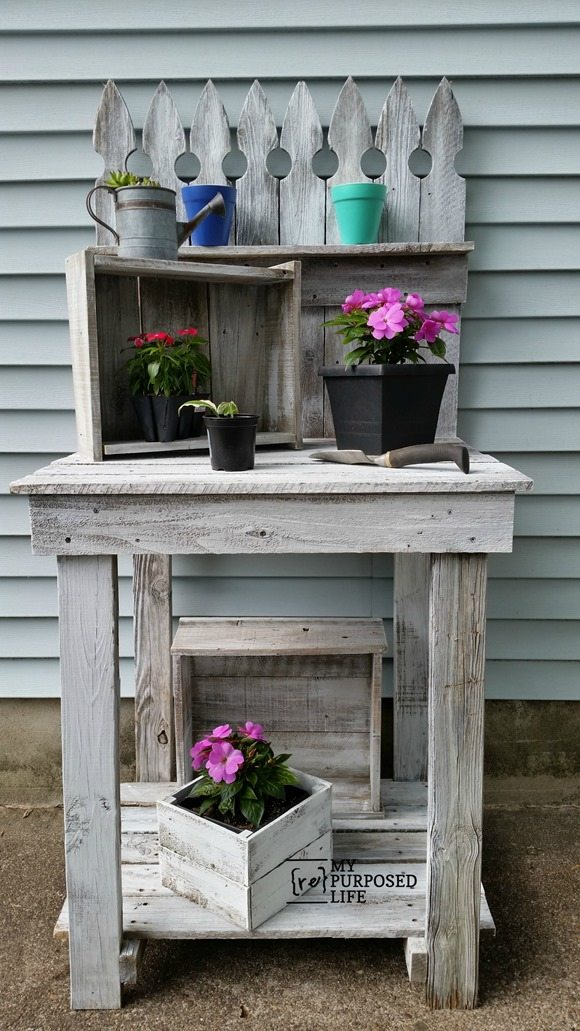 diy reclaimed wood picket fence potting bench MyRepurposedLife.com