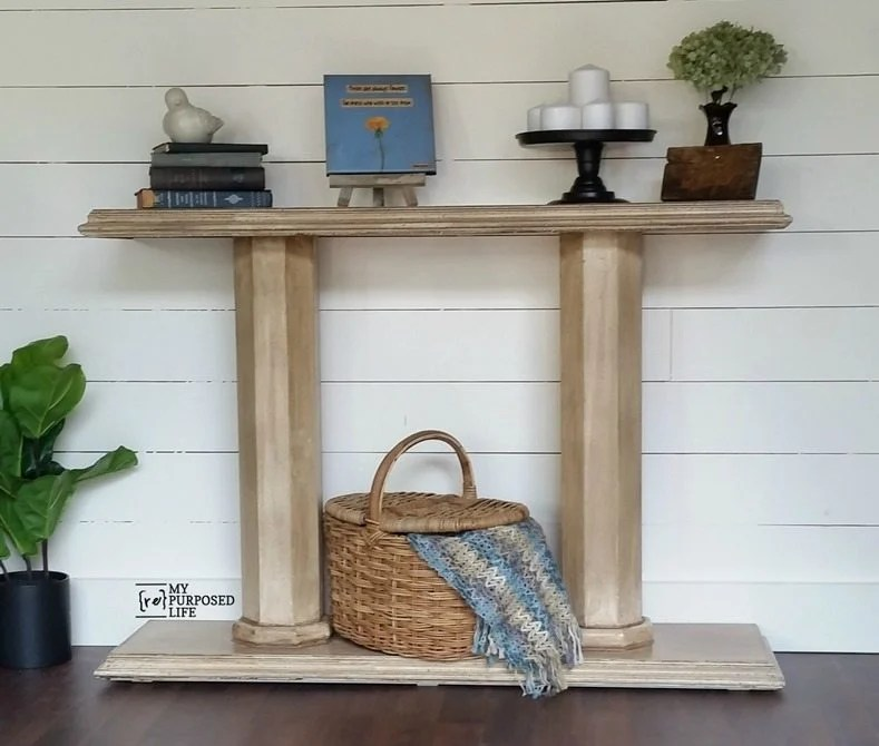 double pedestal console table MyRepurposedLife.com