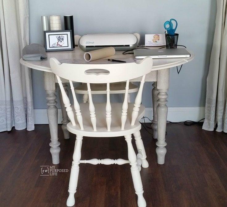 old drop leaf oak table makeover into craft room table MyRepurposedLife.com