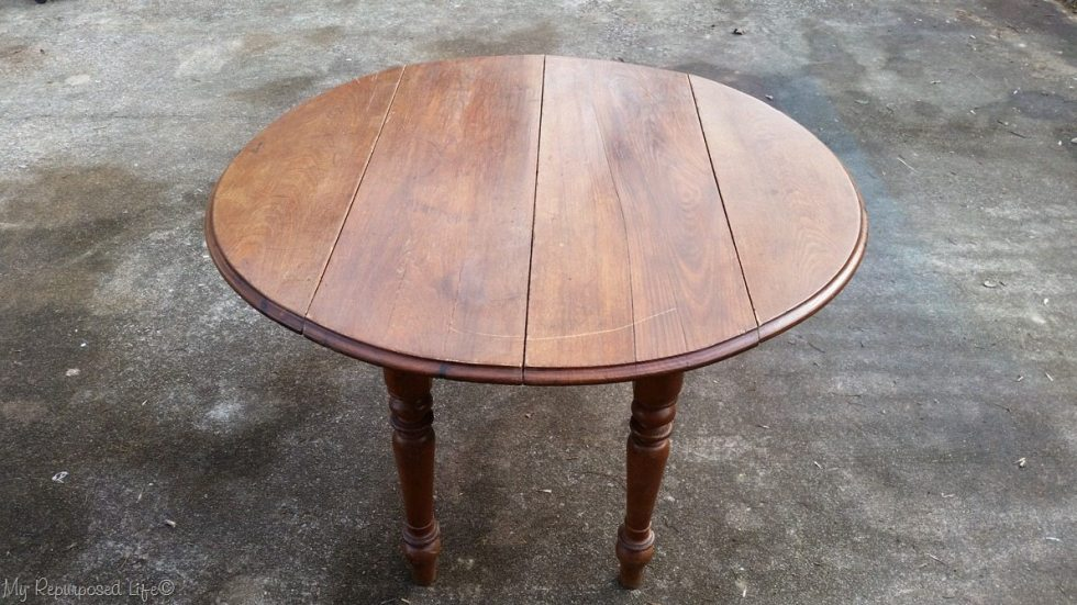 old oak table after repairs and cleaning
