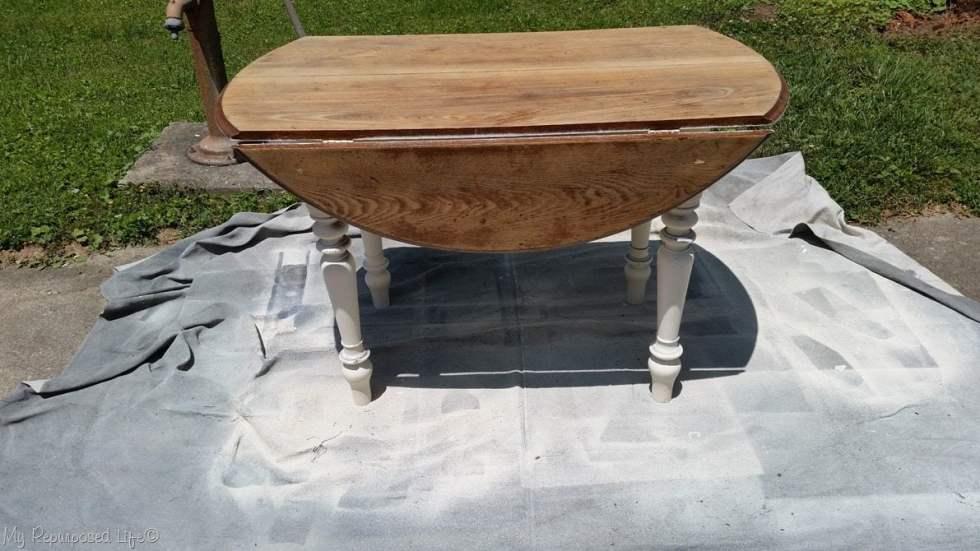 paint oak table upright