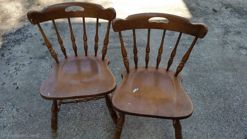 pair of broken chairs