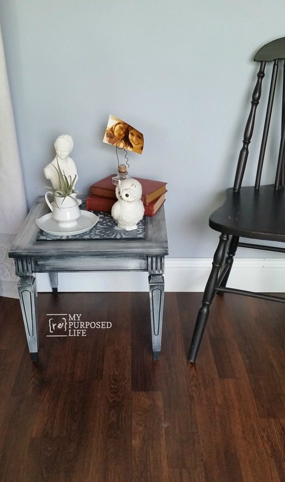 small mid century modern side table stenciled MyRepurposedLife.com