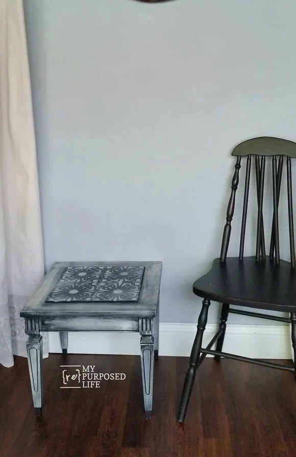 small stenciled mid century modern side table MyRepurposedLife.com