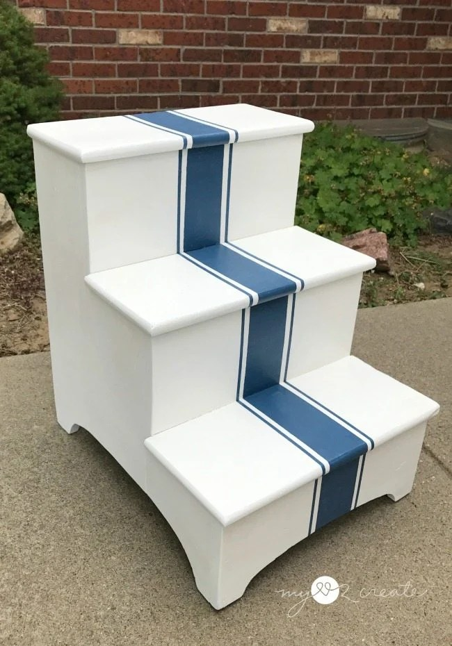 vertical grain stripe step stool makeover