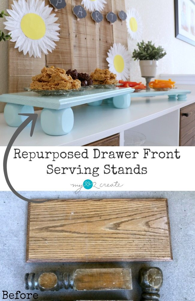 Repurposed Drawer Front Serving Stands