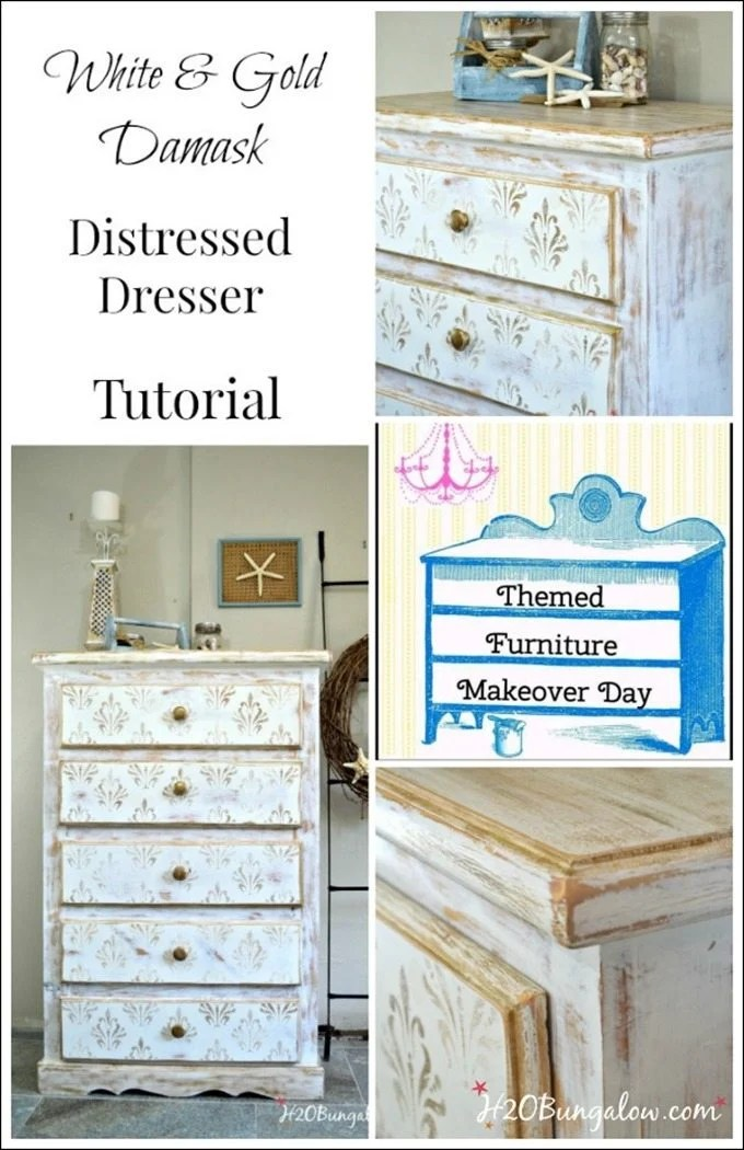 White-and-gold-heavily-distressed-damask-stenciled-dresser-with-simple-tutorial-H2OBungalow