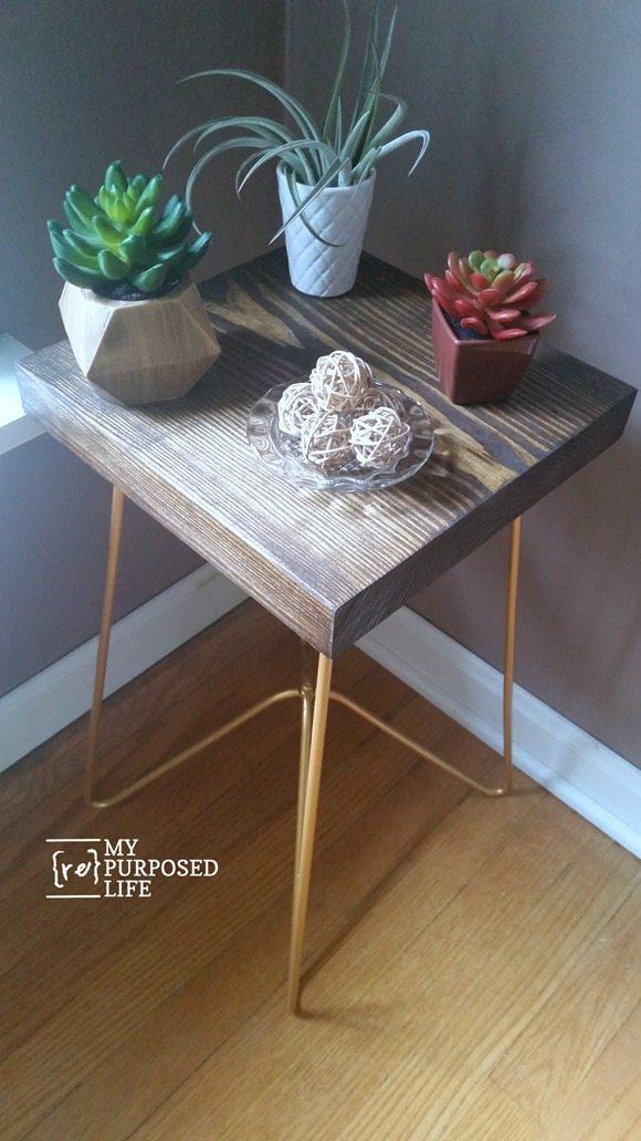 gold metal table legs small side table MyRepurposedLife.com