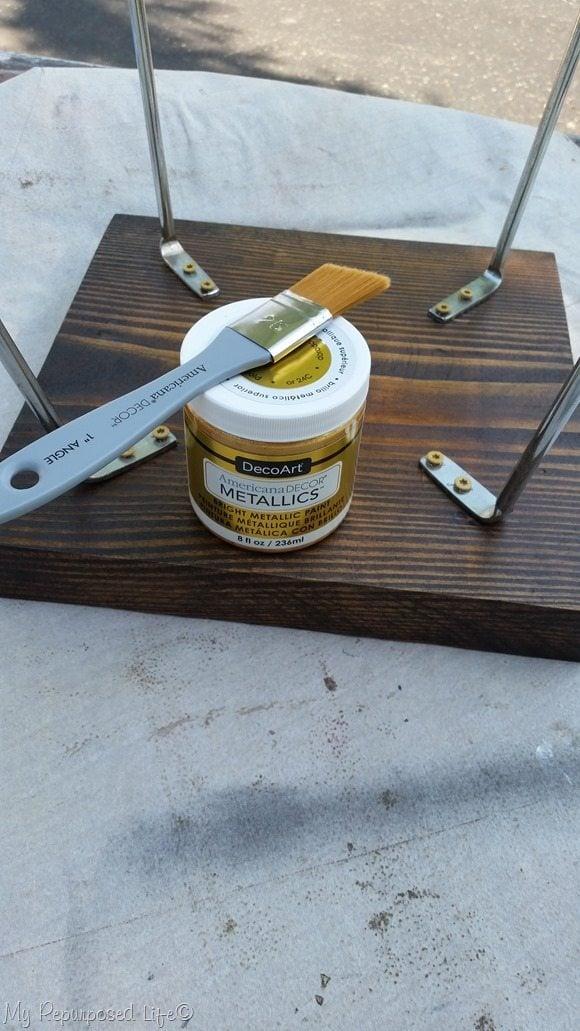 gold metallic paint metal legs